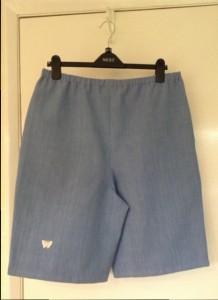 Denim shorts back view